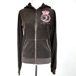 NWT Juicy Couture Encrusted Crest Velour Jacket